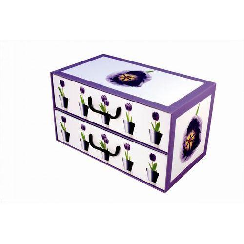 Miss space Pudełko kartonowe 2 szuflady poziome doniczki-tulipany