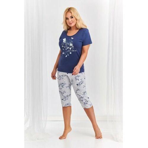 Bawełniana piżama damska TARO 2379 Agnieszka 2XL-3XL granatowa