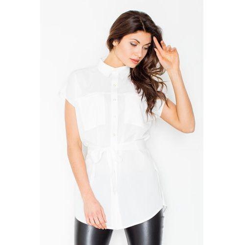 b91684504d6556 Ecru koszulowa tunika z krótkim rękawem z wiązanym paskiem, Figl, 36-42  124,90 zł Materiał: poliester 80% wiskoza 17% elastan 3%.przystępne  wymiary: S (36), ...
