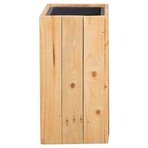 Doniczka drewniana prostokątna 24 x 24 x 50 cm sykia marki Beliani