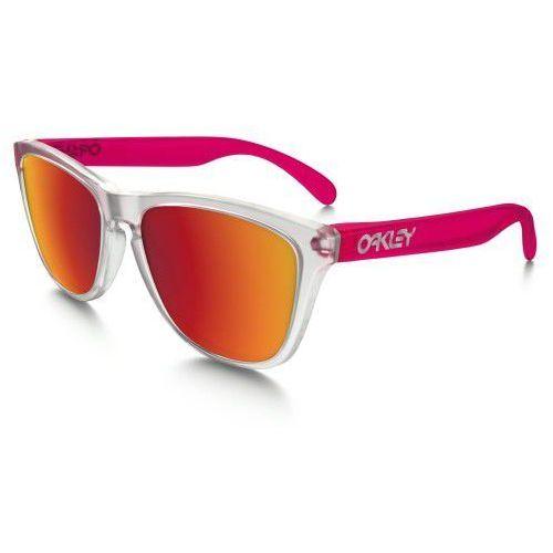 Oakley Okulary frogskins colorblock matte clear transparent pink torch iridium oo9013-b3