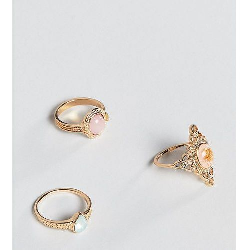 Asos design curve pack of 3 rings in cut out and engraved design with stones in gold - gold marki Asos curve