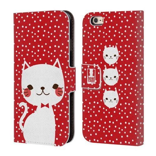 Etui portfel na telefon - cats and dots white cat in red marki Head case
