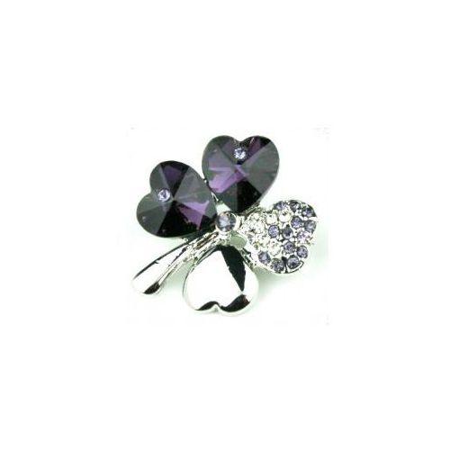 Czterolistna koniczynka srebrna. Swarovski Crystal fiolet