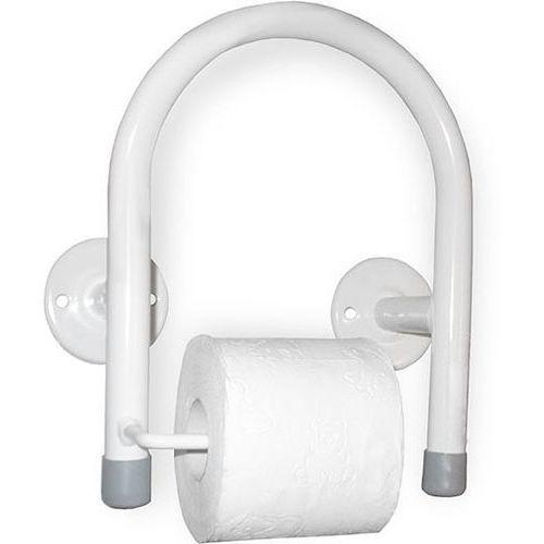 Uchwyt dla niepełnosprawnych przysedesowy na papier toaletowy stal biała, SUKUPT