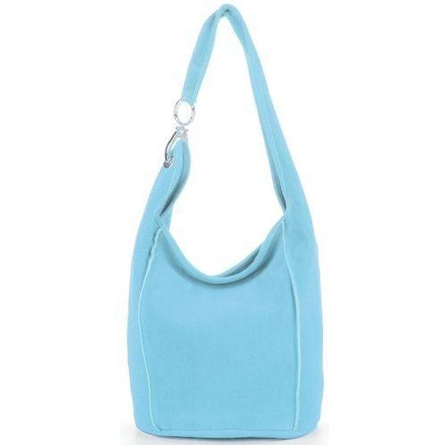 02833c7214e6f made in italy firmowe torebki skórzane na każdą okazję uniwersalny shopper  xl wykonany z wysokiej jakości zamszu naturalnego błękit (kolory) marki  Vittoria ...