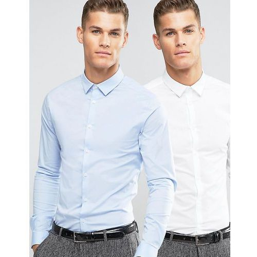 Asos  skinny shirt 2 pack in white and blue save - multi