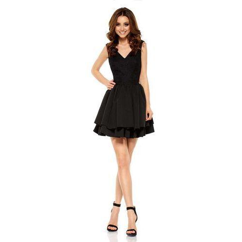 Czarna Wieczorowa Sukienka z Koronką z Rozkloszowanym Dołem, GL260bl