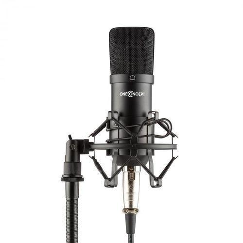 Oneconcept Mic-700 mikrofon studyjny Ø 34 mm jednokierunkowy uchwyt/pająk mikrofonowy osłona przed wiatrem xlr czarny (4060656107658)