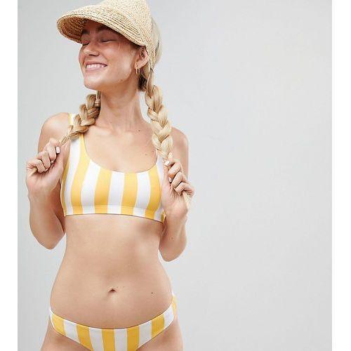 Monki block stripe bikini bottom in yellow stripe - Multi, w 2 rozmiarach