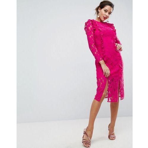 lace ruffle midi column dress - pink, Asos