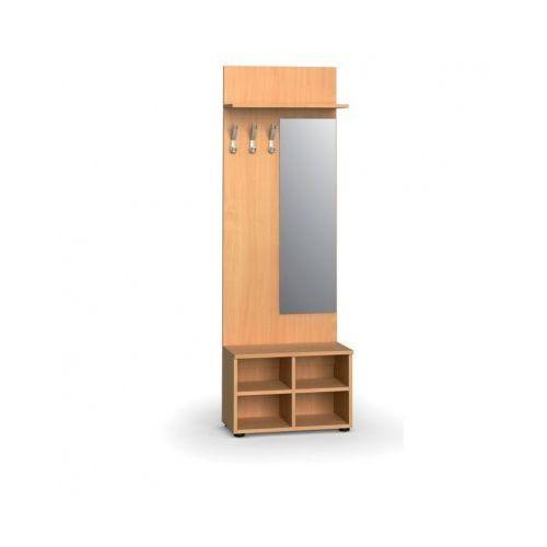Garderoba z półką na buty i lustrem, 3 haczyki, półka, buk
