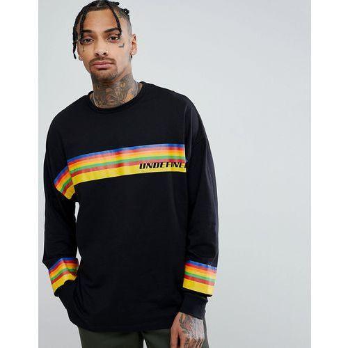 design oversized long sleeve t-shirt with rainbow undefined print - black, Asos, XXS-XXXL