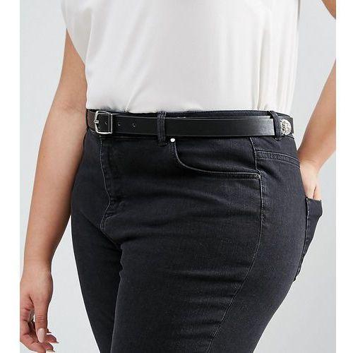 Asos curve animal tipped end boyfriend waist and hip belt - black