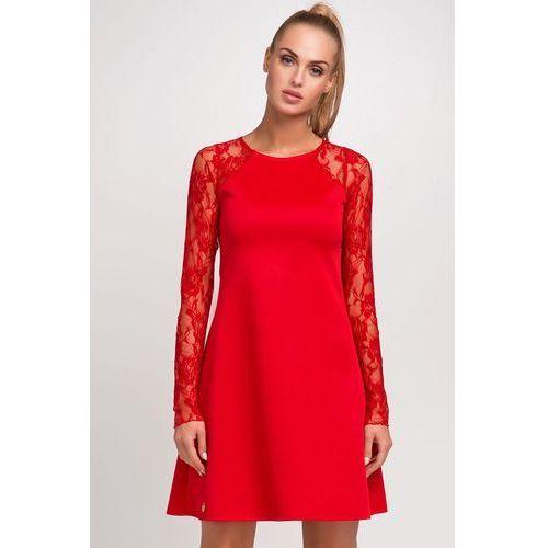 Czerwona wizytowa trapezowa sukienka z długim koronkowym rękawem, Makadamia, 36-42