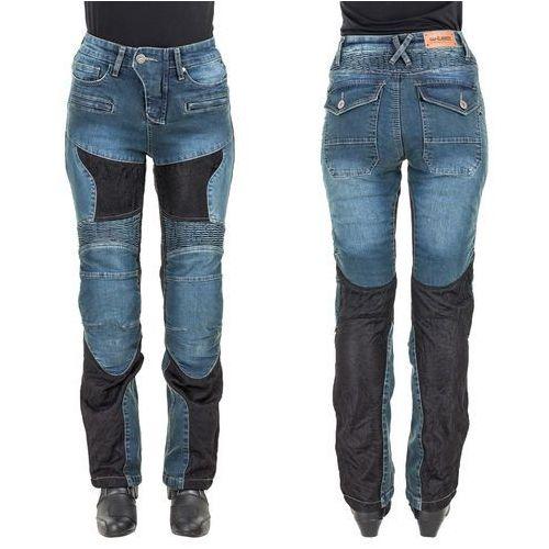 Damskie jeansowe spodnie motocyklowe bolftyna, niebieski-czarny, l, W-tec