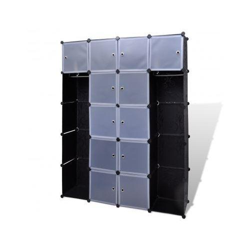 Szafa modułowa 14-częściowa (37 x 150 x 190 cm), czarno-biała, vidaXL