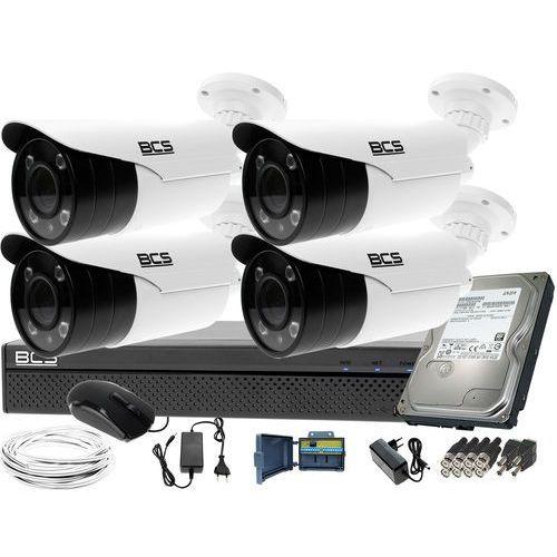 Kompletny zestaw do monitoringu rejestrator BCS-XVR0401 4 kamery BCS-TQE5200IR3-B Dysk 1TB Akcesoria, ZM11485