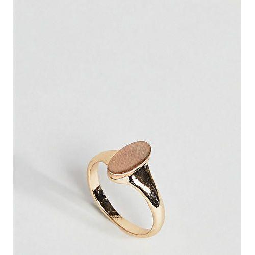 ASOS CURVE Brushed Metal Oval Pinky Ring - Multi, kolor różowy