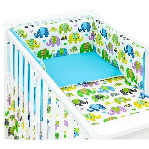 MAMO-TATO 3-el dwustronna pościel dla niemowląt Słoniaki zielone / niebieski do łóżeczka 70x140 cm