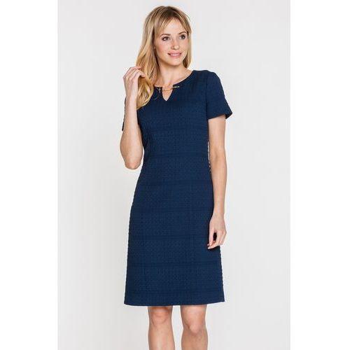 Granatowa sukienka z gufrowanej tkaniny - marki Potis & verso