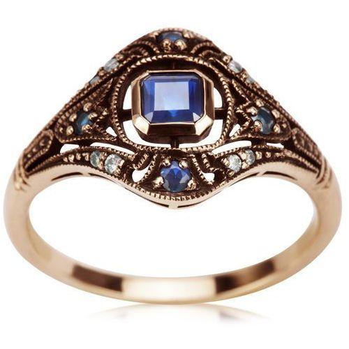 Kolekcja Wiktoriańska - pierścionek z brylantami i szafirami