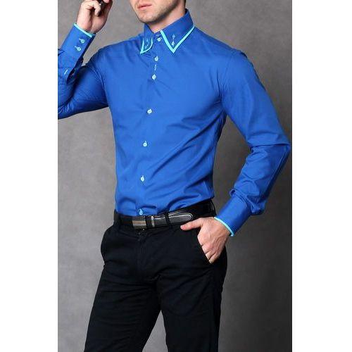 Highness 4112-2 Koszula męska slim fit - niebieski, niebieska