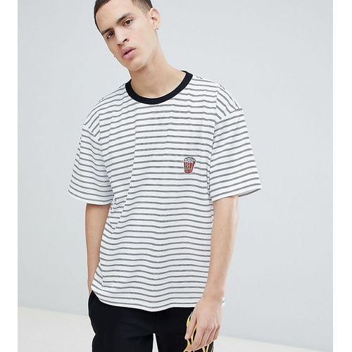 Reclaimed vintage inspired short sleeve striped t-shirt with chest patch - white