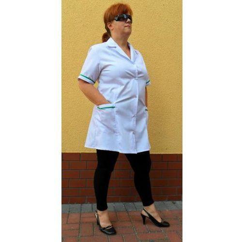 fartuch damski z kołnierzem , elanobawełna , krótki rękaw. rozmiar M kolor biały (odzież medyczna)