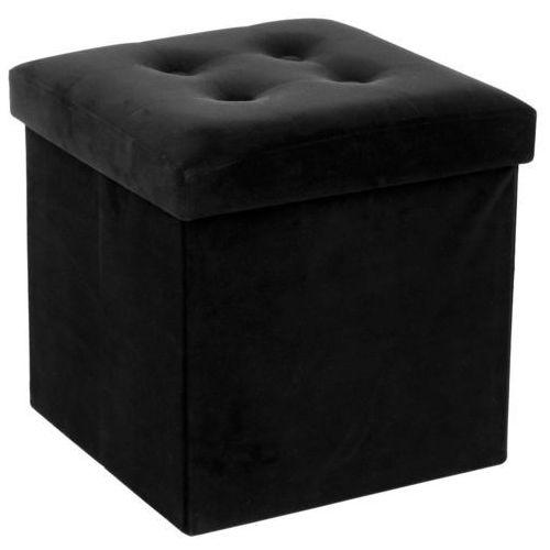 Składana pufa ze schowkiem, podnóżek, pojemnik z pokrywą - 2 w 1, kolor czarny