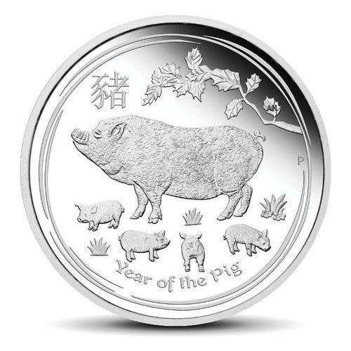 Srebrna moneta rok świni: edycja kolekcjonerska - wysyłka 24 h! marki Perth mint