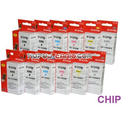 tusze PGI-525BK - CLI-526 do Canon (12 szt z chipami, Arte) tusze do Canon MG6150, MG6250, MG8150, MG8250 - produkt z kategorii- tusze