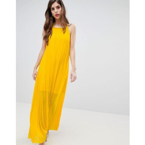 plisse halter maxi dress - yellow, French connection