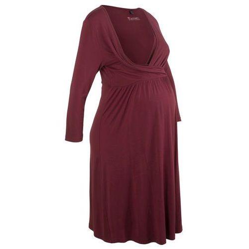 Sukienka shirtowa ciążowa i do karmienia bonprix czerwony klonowy, w 6 rozmiarach