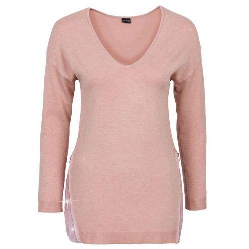 Sweter z aplikacją z cekinów stary jasnoróżowy melanż, Bonprix, 32-54