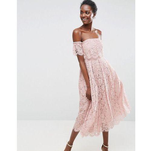 off the shoulder lace prom midi dress - beige marki Asos