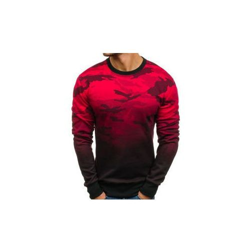 Bluza męska bez kaptura czerwona denley dd130-2 marki J.style