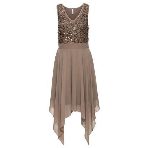 Sukienka wieczorowa z cekinami jasnobrązowy, Bonprix, 34-50
