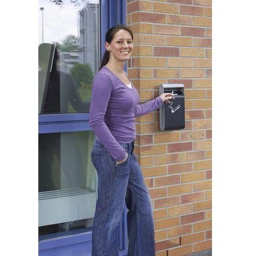 Atrakcyjna popielniczka ścienna do użytku wewnątrz i na zewnątrz budynków, z poj