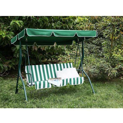 Beliani Huśtawka zielono-biała - meble ogrodowe - stal - ławka - chaplin