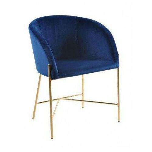 Niebieskie tapicerowane krzesło z podłokietnikami - amazon 4x marki Elior