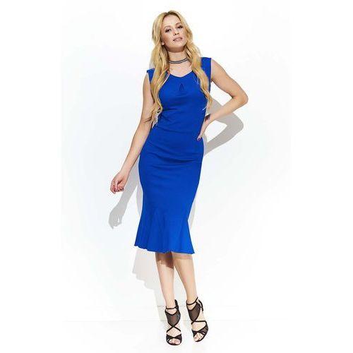 Chabrowa Elegancka Sukienka Midi w Stylu Rybki