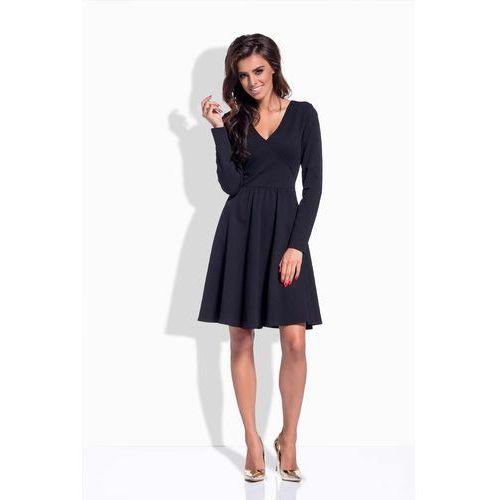 Czarna Sukienka z Kopertowym Dekoltem V, kolor czarny