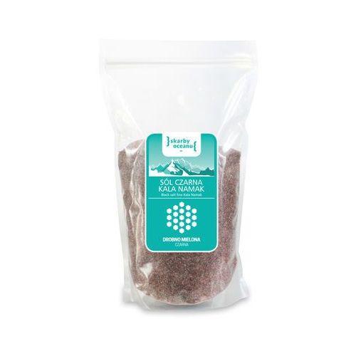 Sól czarna kala namak drobno mielona 1 kg - skarby oceanu marki Skarby oceanu (sól morska i himalajska)