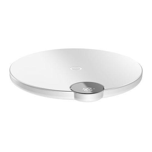 Baseus Digital LED Display Wireless Charger bezprzewodowa ładowarka Qi z wyświetlaczem napięcia ładowania (WXSX-02) biały, 46387 (11226451)
