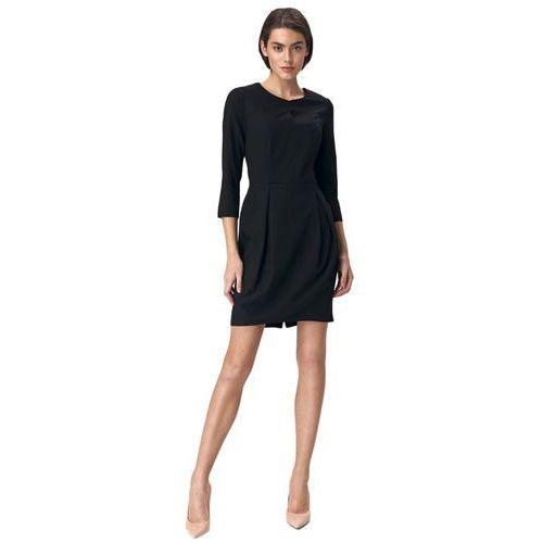 Czarna sukienka tulipan - S142