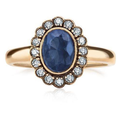 Biżuteria yes Kolekcja wiktoriańska - pierścionek z brylantami i szafirem