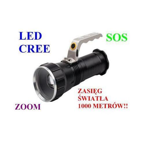 Profesjonalna akumulatorowa policyjna latarka szperacz (zasięg 1000m.!!) led cree + zoom + sos... marki X-balog