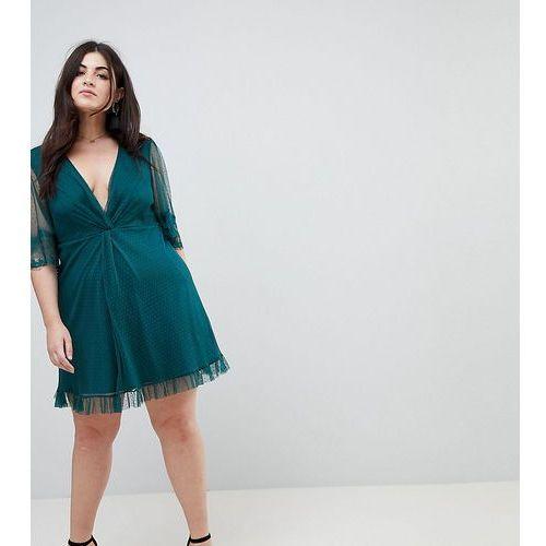 Asos curve dobby knot front lace trim mini skater dress - green