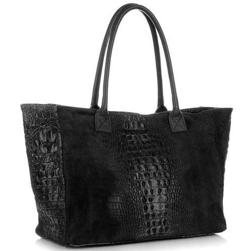 c63415fd6d72d Duża Włoska Torba Skórzana firmy Genuine Leather z motywem Aligatora Czarna  (kolory), kolor czarny 259,00 zł wymiar ma znaczenie.